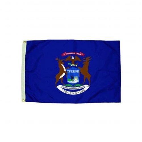 Flagzone FZ-2212051 3x5 Nylon Michigan Flag Heading