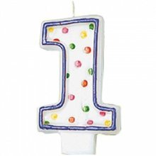 Polka Dot Birthday Candle Number 1 - 7.5cm -