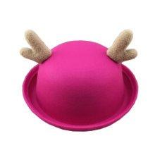 Deer Style Personalized Kids Boys Girls rose red Hats Felt Hats Cute Caps