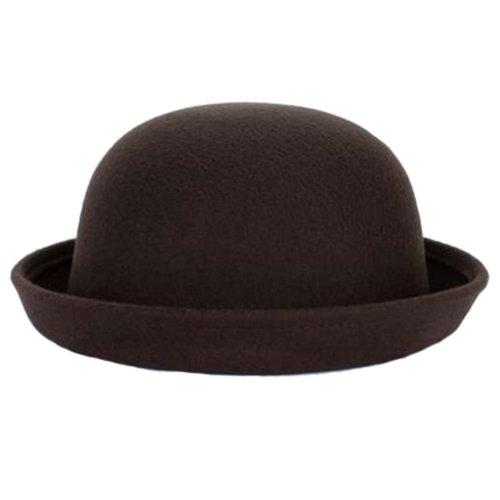 Ladies Elegant Hat Winter Cap Bowler Hat Fedora Hats, Brown