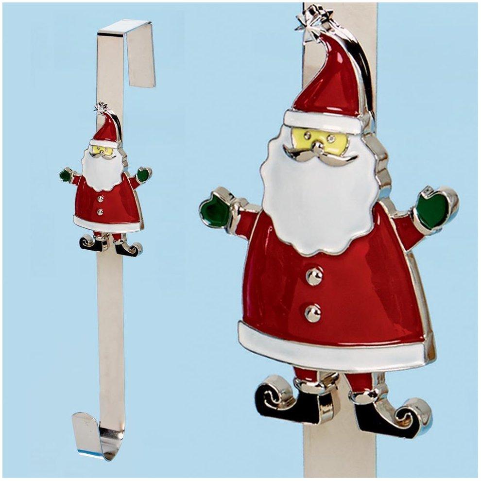 Christmas 38cm Character Wreath Hanger Metal Santa