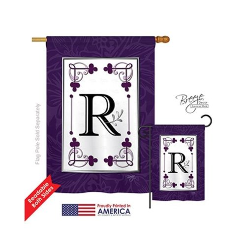 Breeze Decor 30018 Classic R Monogram 2-Sided Vertical Impression House Flag - 28 x 40 in.