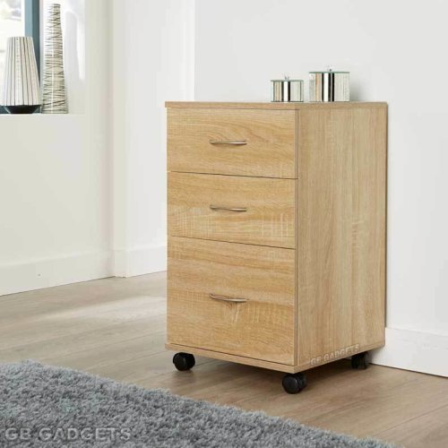 3 Drawers Pedestal Cabinet Silver Handles Furniture Unit Home Office