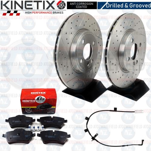 FOR MINI COOPER S R59 FRONT DRILLED GROOVED BRAKE DISCS MINTEX PADS WIRE 294mm