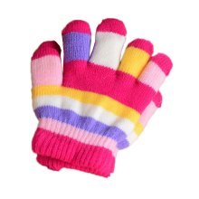 Multicolor Winter Warm Knit Gloves Plush-lined Mittens for Kids, #02