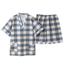 Men Pajamas Suit Check Pattern Summer Short Pajamas Khan Steam Clothes Cotton