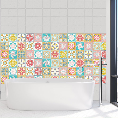 4 Malia Colourful Home Wall Tile Stickers Bathroom Kitchen - 10 cm x 10 cm - 24 pcs.
