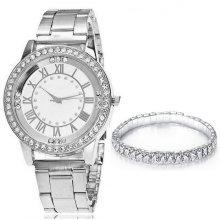 Ladies Watch & Bracelet Gift Set | Crystal Fashion Watch & Bracelet