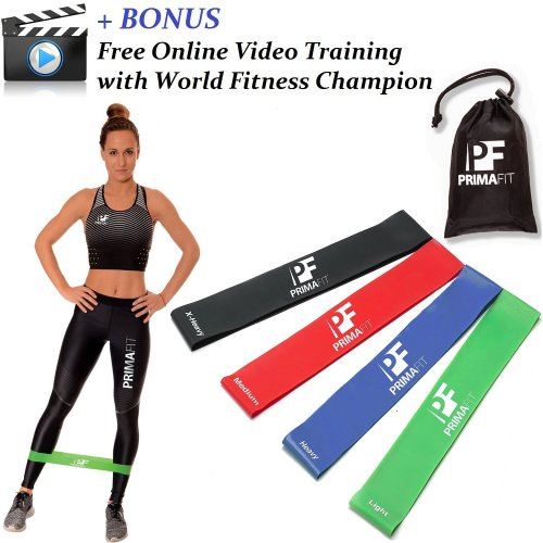 Resistance Bands for Women and Men PrimaFit Set of 4 Exercise Loop Bands