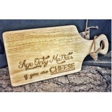 Wooden Paddle Serving Cheese Board With Rope - 30x17cm