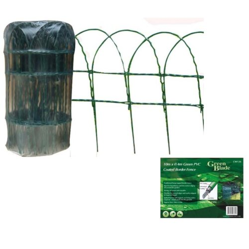 10m X 0.4m Green Pvc Coated Border Fence -  8 x black iron effect decorative garden flower bed lawn edging fence panels new