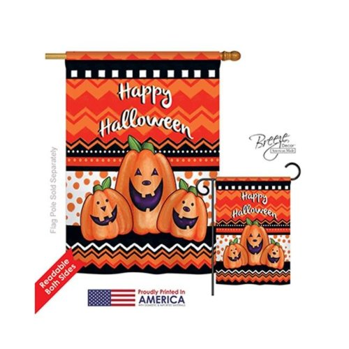 Breeze Decor 12062 Halloween Halloween Trio 2-Sided Vertical Impression House Flag - 28 x 40 in.