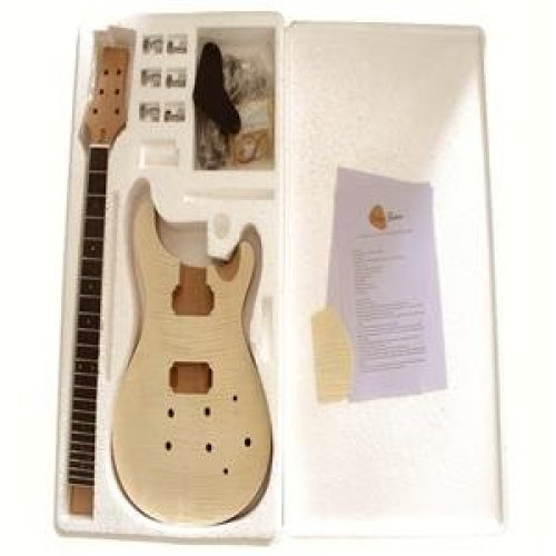 Mahogany body with Flamed Maple Veneer 8WMPRFMS Top Electric Guitar DIY Kit No Soldering Required