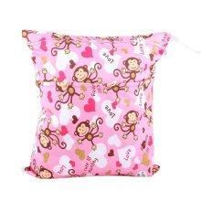 """Monkey Wet Bags Waterproof Diaper Bag Multi-function Nappy Bag -14""""*11"""" Pink"""