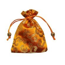 Fashion Jewelry Pouch Drawstring Bag Cloth Gift Bag 10pcs-Yellow