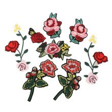 8Pcs Embroidery Rose Flower Sew On / Iron On Patch