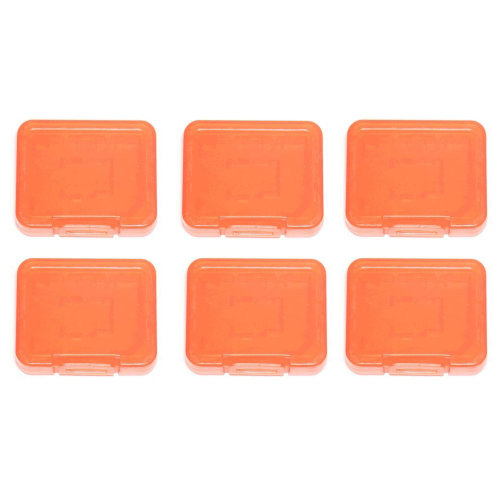 Individual tough plastic cases for SD SDHC SDXC & Micro SD memory cards semi transparent - 6 pack orange - Assecure