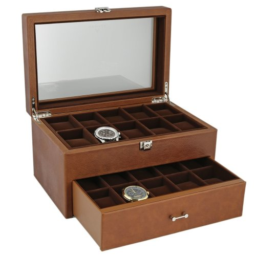 Brown Genuine Leather 20 Watch Box with Drawer  by Aevitas