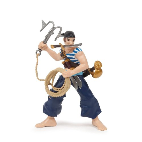 Papo Pirate With Grapnel Figure - 39442 Grappling Figurine Hook Corsair Knights -  papo 39442 pirate grappling figurine hook corsair grapnel figure