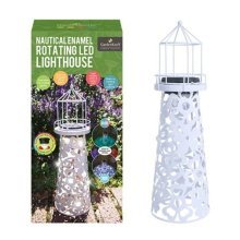 Solar Powered LED Garden Lighthouse Rotating Colour Changing Beacon White Enamel