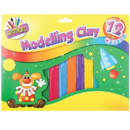 12 Strips Kids Childrens Modelling Clay Plasticine Colourful Art Dough Craft