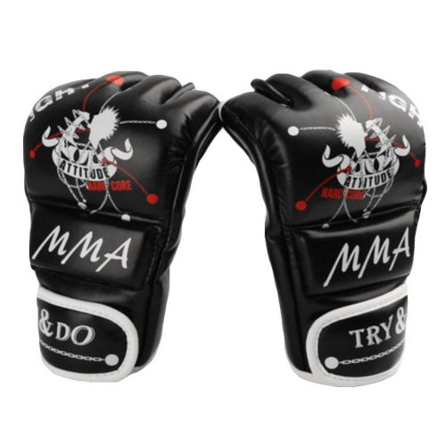 Boxing - Kickboxing Glove Half Finger Gloves -MMA----Black