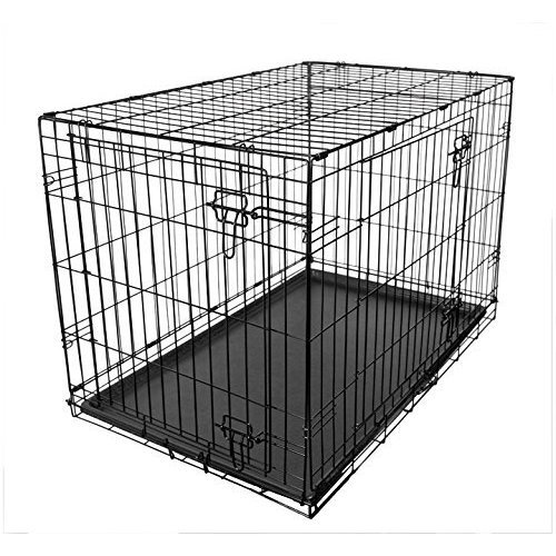 RAC Dog Puppy Cage Folding 2 Door Crate with Plastic Tray Medium 30-inch Black (Medium)