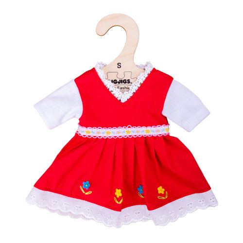 Bigjigs Toys Red Dress with Floral Trim (Small - 25cm)