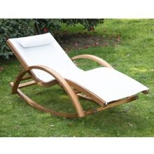 Outsunny Rocking Lounger Wood Furniture W/ Cushion