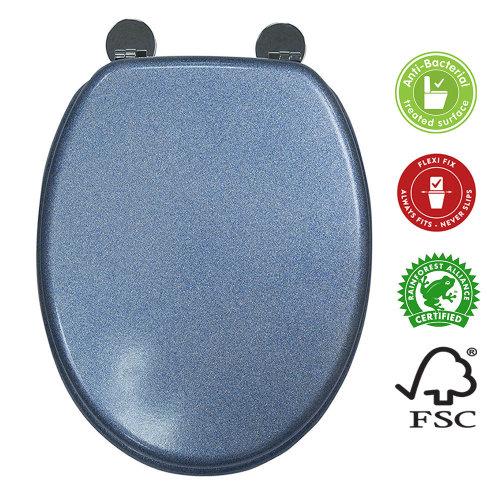 Blue Quartz Glittery toilet seat MDF Anti Bac non slip hinges
