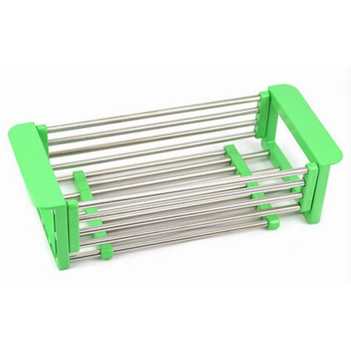 Sink Dish Drainer Rack Collapsible Over Sink Dish Drainer GREEN