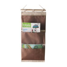 3-Pockets Zakka Wall Door Hanging Storage Magazine Organizer, Coffee Dots