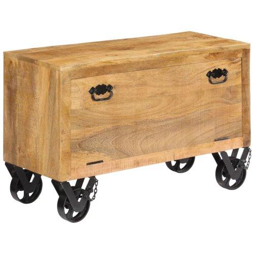 vidaXL Solid Mango Wood Shoe Cabinet with 4 Casters Footwear Rack Organiser