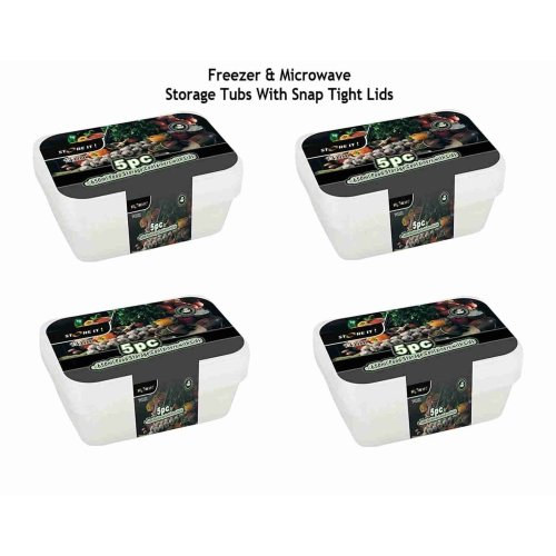 Clear Plastic Food Storage Tubs With Lids - Pack Of 5 Containers 650ml
