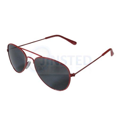 Childrens Tinted Lens Red Frame Aviator Sunglasses KA006