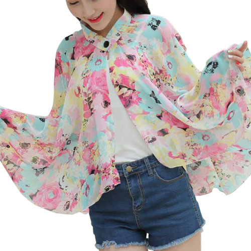 Sun Protective Clothing - Summer Chiffon Shawl Beach Coats Jackets-A1