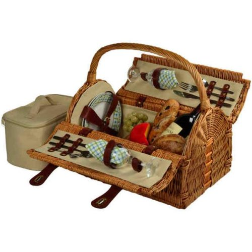 Picnic at Ascot 709-G Sussex Picnic Basket for 2-Wicker-Gazebo