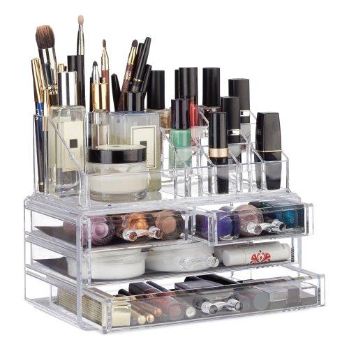 538c84c193c5 Relaxdays Makeup Organizer with 4 Drawers, Cosmetics Holder for Nail Polish  and Lipstick, Acrylic Makeup Kit, Transparent