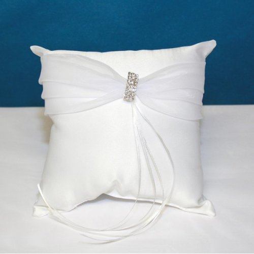 Rhinestone Ring Cushion - White