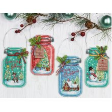 """Dimensions Counted Cross Stitch Kit 7.5""""-Christmas Jar Ornaments"""