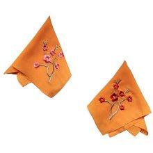 Two Pieces Of Elegant  Retro Plum Flower Embroidered Handkerchiefs-Orange