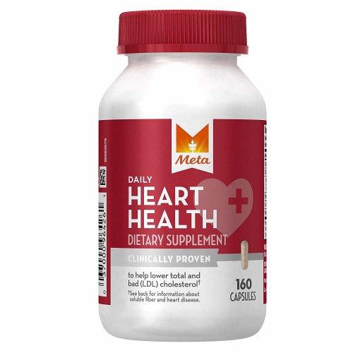 Meta Daily Heart Health Psyllium Husk Fibre Dietary Supplement, 160 Capsules