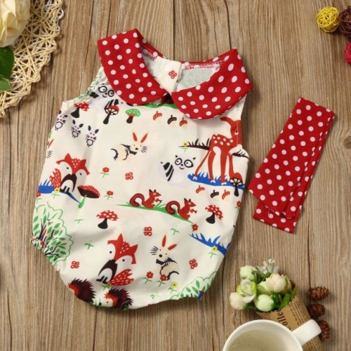 Newborn Baby girls romper summer 2017 Infant Baby Girl Woodlands Romper Playsuit Headband Outfits Clothes Set