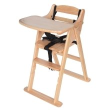 Safetots Simply Safe Folding Wooden High Chair Natural
