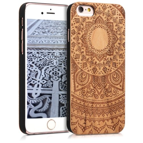 new arrivals 179e7 5ad11 kwmobile Apple iPhone 6 / 6S Wood Case - Non-Slip Natural Solid Hard Wooden  Protective Cover for Apple iPhone 6 / 6S