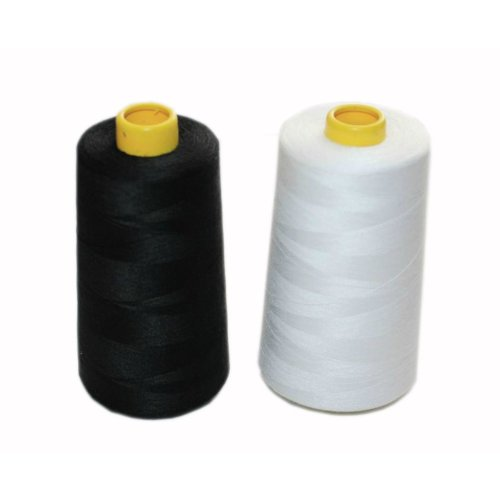 Set of 2 1 Black & 1 White Spools Polyester Sewing Thread 5000 Yards(140g Each)
