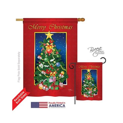 Breeze Decor 14079 Christmas Merry Christmas Tree 2-Sided Vertical Impression House Flag - 28 x 40 in.