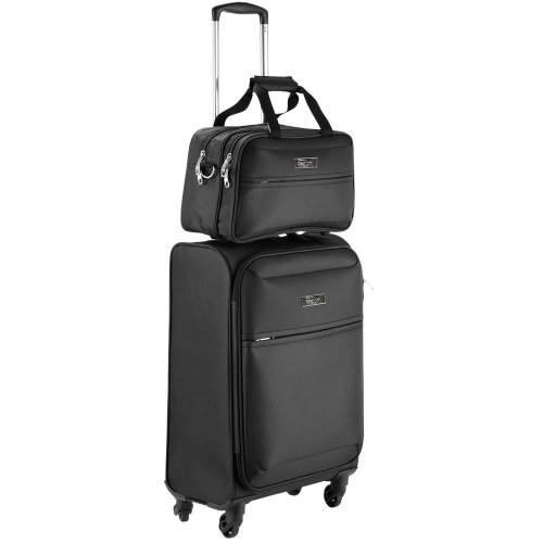 Cabin Max Copenhagen hand luggage trolley suitcase set | Trolley suitcase 55x40x20cm and Stowaway bag 35x20x20cm | Ideal for Ryanair, Easyjet,...