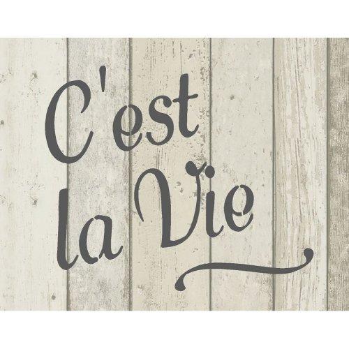 French Vintage Shabby Chic Mylar Stencil 'C'est la Vie' A5 / A4 / A3 (229)