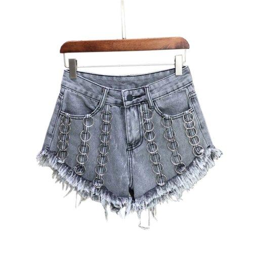 Fashion Metal Hoops Design Hot Pants High Waist Denim Shorts Jeans, C